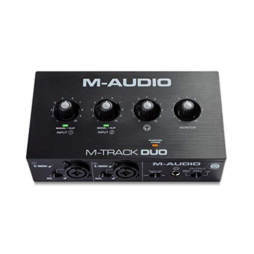 M-Audio M-Track Duo - Interfaz de audio USB para grabaciones, transmisiones y pódcasts con entradas XLR, línea y DI, paquete de software incluido