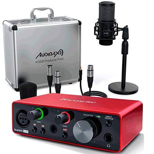 Focusrite Scarlett Solo 3ª Gen Interface Audio + Studio Pack Producer AT2020 Audibax