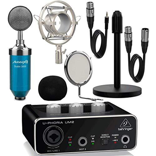Behringer Interface Audio UM2 U-Phoria + Micrófono Estudio Blue Pack Dublín con Accesorios