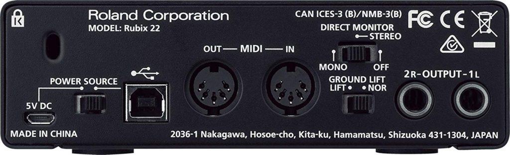 Interfaz de audio - Roland Rubix 22 - panel posterior