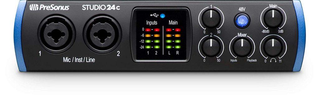 Interfaz de audio usb Presonus Studio 24c - panel frontal