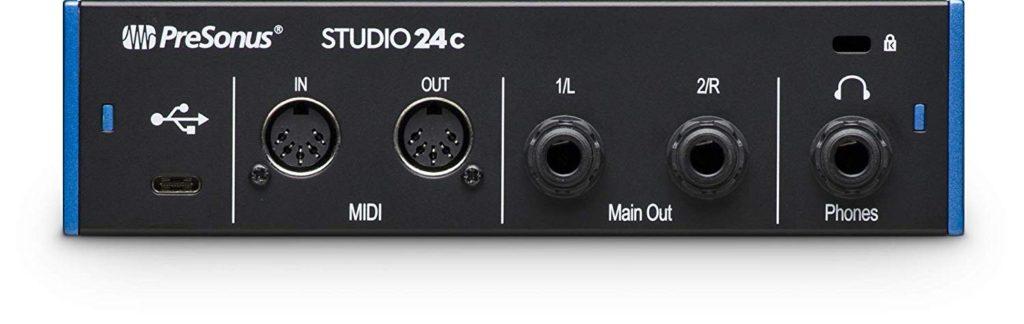tarjeta de audio externa Presonus Studio 24c - panel posterior