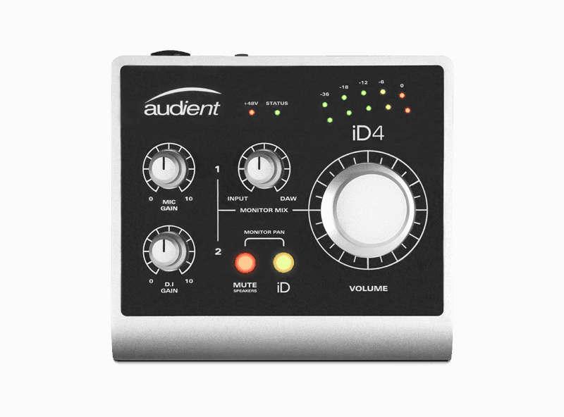 Interfaz de audio Audient ID4 - panel superior