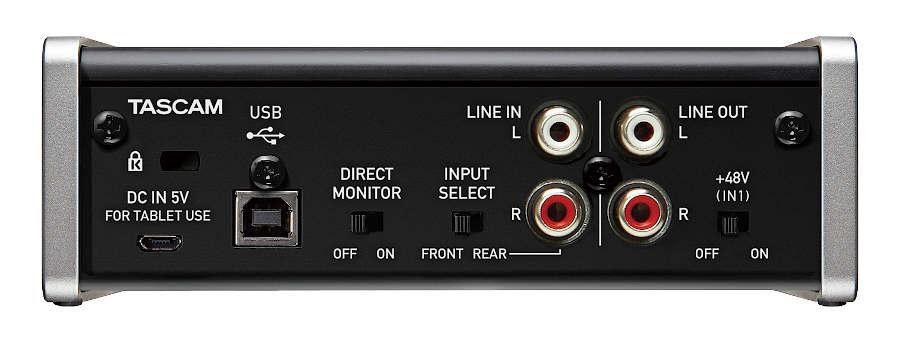Interfaz de audio Tascam US-1x2 - panel posterior