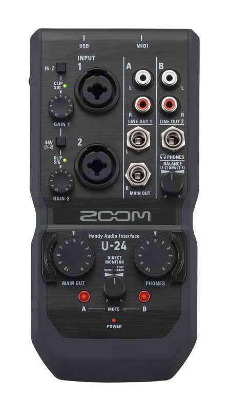 Tarjeta de sonido Zoom U-24 - panel superior