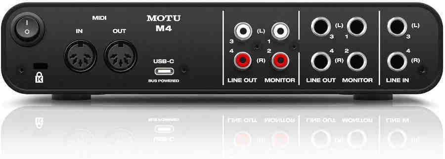 Tarjetas de sonido Motu M4 - panel posterior